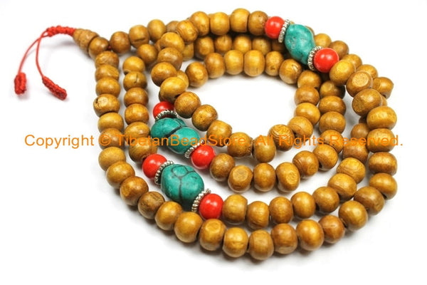 108 beads Tibetan Natural Stained Wood Mala Prayer Beads with Spacers- 8mm Tibetan Mala Beads- TibetanBeadStore Mala Making Supplies- PB131 - TibetanBeadStore