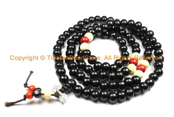 108 beads Tibetan Black Wood Mala Prayer Beads with Spacer Beads 8mm - Tibetan Mala Beads - TibetanBeadStore Mala Making Supplies - PB134 - TibetanBeadStore