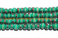 10 BEADS 10mm Tibetan Green Color Bone Beads with Turquoise, Coral & Metal Inlays- Ethnic Nepal Tibetan Green Bone Beads- LPB148-10