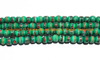 10 BEADS 8mm Tibetan Green Color Bone Beads with Turquoise, Coral & Metal Inlays - Ethnic Nepal Tibetan Green Bone Beads - LPB148S-10