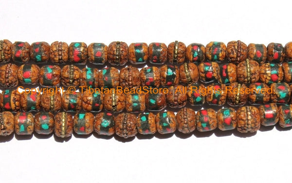 10 BEADS 8mm Rudraksha Beads with Turquoise, Coral & Metal Inlays - Ethnic Nepal Tibetan Mala Supplies Rudraksha Mala Beads - LPB150-10