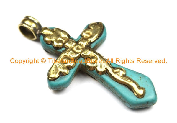 2 PENDANTS Tibetan Reversible Turquoise Cross Pendants with Brass Bail, Repousse Carved Floral Details - Turquoise Cross- WM6310B-2