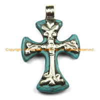 Tibetan Reversible Turquoise Cross Pendant with Tibetan Silver Metal Bail & Carved Floral Details - Ethnic Nepal Tibetan Cross- WM6309