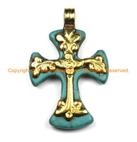 Tibetan Reversible Turquoise Cross Pendant with Brass Bail, Repousse Hand Carved Floral Details -Tibetan Cross- Turquoise Cross- WM6309B