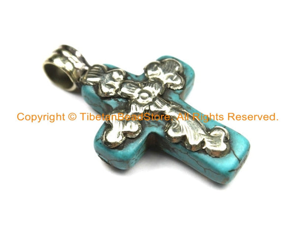 Small Tibetan Reversible Turquoise Cross Pendant with Tibetan Silver Metal Bail & Carved Floral Details - Ethnic Turquoise Cross- WM6308