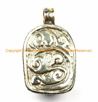 Tibetan Red Buddha Head Pendant with Repousse Floral Details- TibetanBeadStore's Custom Design Buddha Head Pendant- WM6127B