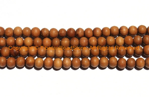 50 beads Natural Sandalwood Beads 8mm - Ethnic Nepal Tibetan Beads - Mala Making Supplies - High Quality Sandalwood Beads - LPB98S-50