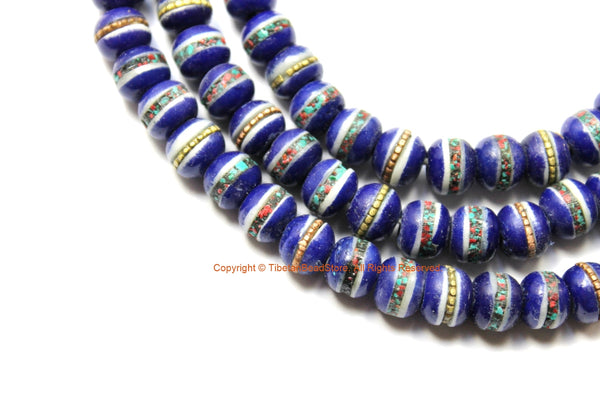 108 BEADS 8mm Tibetan Lapis Blue Color Bone Mala Prayer Beads with Turquoise, Coral & Metal Inlays - Tibetan Blue Bone Mala Beads - PB212