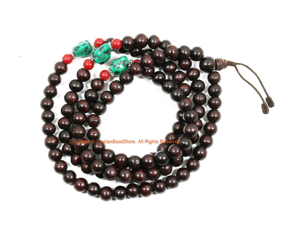 10mm Size Tibetan Dark Wood Mala Prayer Beads with Spacer Beads - Tibetan Mala Beads - TibetanBeadStore Mala Making Supplies - PB219