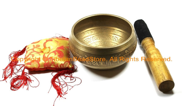 Tibetan Om Mani Mantra Hand-Hammered 7-Metals Singing Bowl - SB202