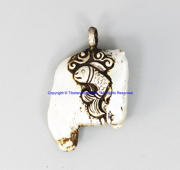 92.5 Sterling Silver with Fish Design & Freeform Natural Freshwater Pearl Tibetan Pendant - Handmade Ethnic Tibetan Jewelry - SS8033