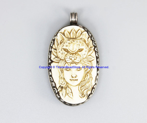 Real Solid 92.5 Sterling Silver Detailed Lotus Floral Carving & Beautiful Handcarved Bone Leopard Goddess Tibetan Pendant - SS8035