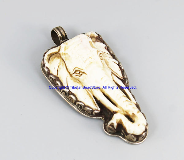 Real Solid 92.5 Sterling Silver Detailed Lotus Floral Carving & Beautiful Handcarved Bone Elephant Tibetan Pendant - SS8036