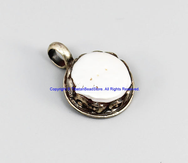 92.5 Sterling Silver & Natural Freshwater Pearl Tibetan Pendant - Handmade Ethnic Tibetan Jewelry - SS8037