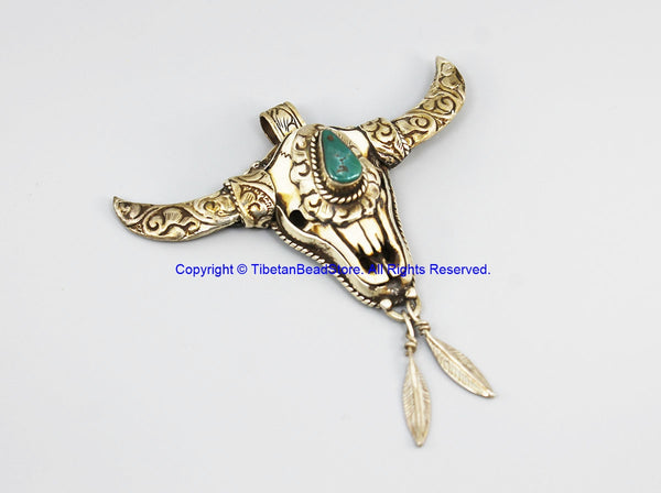 Real Solid 92.5 Sterling Silver Detailed Floral Carving, Leaves & Bull Head Buffalo Bone Tibetan Pendant with Turquoise Inlay - SS8038