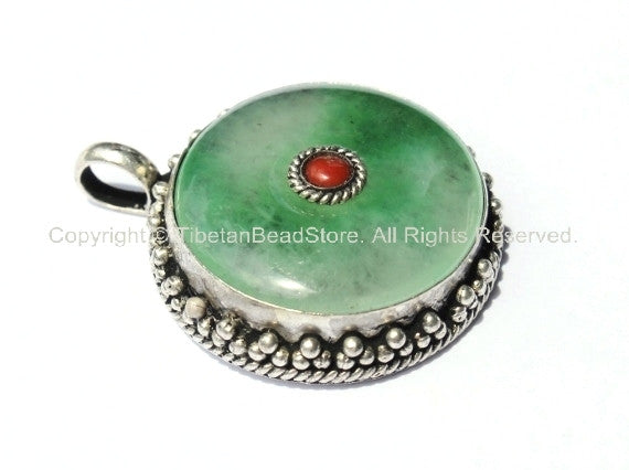 Tibetan Green Jade Pendant with Coral Accent - Ethnic Jewelry - WM2258