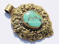 OOAK LARGE Repousse Carved Brass Tibetan Pendant with Turquoise Inlay, Repousse Auspicious Conch, Lotus Floral Detail - WM4909