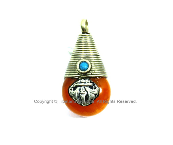 Reversible Ethnic Tibetan Amber Resin Charm Pendant with Tibetan Silver Wire Cap, Vajra Dorje Design & Bead Inlays - 15mm x 30mm - WM7865