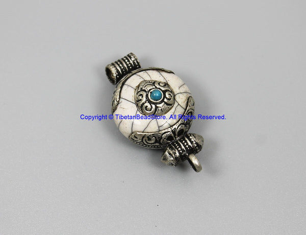 Small Ethnic Tibetan White Crackle Resin Ghau Design Charm Pendant with Tibetan Silver Caps, Repousse Auspicious Conch Details - WM7954
