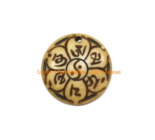 Ethnic Tribal OM Mani Padme Hung Mantra, Yin Yang & Lotus Flower Design Handmade Carved Bone Pendant - WM7971