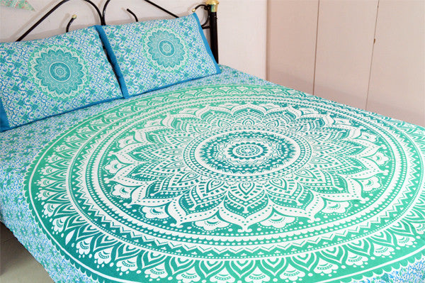 Green Ombre Mandala With Pillow Cases Twin Queen