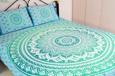 Green Ombre Mandala With Pillow Cases - Twin / Queen