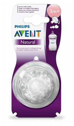 Meem - Avent Baby Avent, Variable Flow Natural Teats 3M+ of age, pack of 2