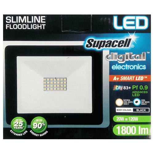Chemtech - Supacell Home & Garden Supacell, Slimline LED Floodlight, 120W, 1800lm