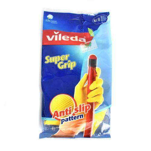 Vileda, Super Grip Medium Gloves Yellow Pack of 2