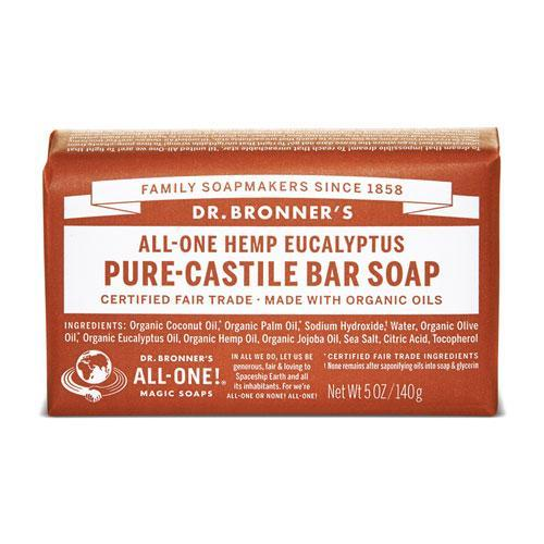 Health Solutions - Dr Bronner's Beauty & Personal Care Dr Bronner's, Organic Eucalyptus Bar Soap 140g