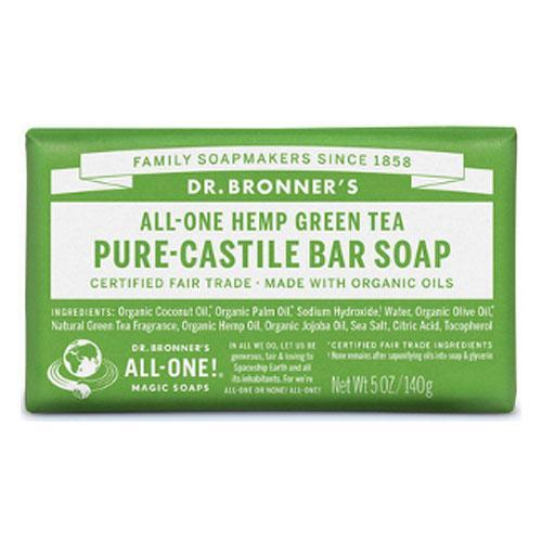 Health Solutions - Dr Bronner's Beauty & Personal Care Dr Bronner's, Organic Green Tea Bar Soap 140g