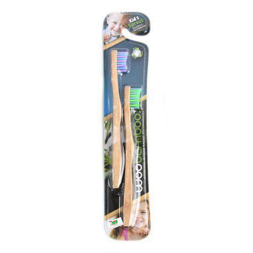 Health Solutions - WooBamboo Beauty & Personal Care WooBamboo, Kid's bamboo toothbrushes, 2 pack