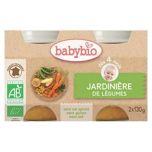 Babybio, Vegetable Gardener Pots, 2 x 100g, 4m+