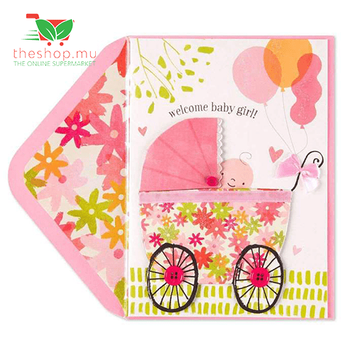 Baby Girl in Carriage New Baby Card