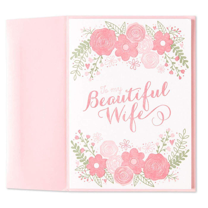 Beautiful Wife Floral Valentine Card (For Wife)