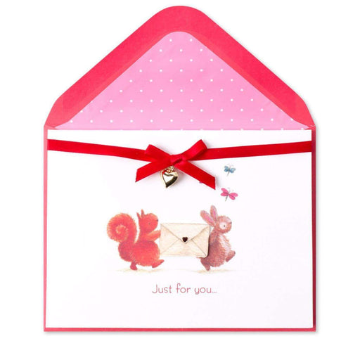 Bunny & Squirrel With Envelope Valentine Card