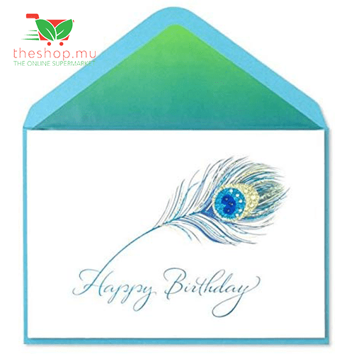 Glittery Peacock Feather with Gems Birthday Card