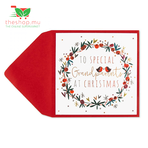 Unknown - Generic Product Flowers & Gifts Holly Wreath Christmas Card (For Grandparents)