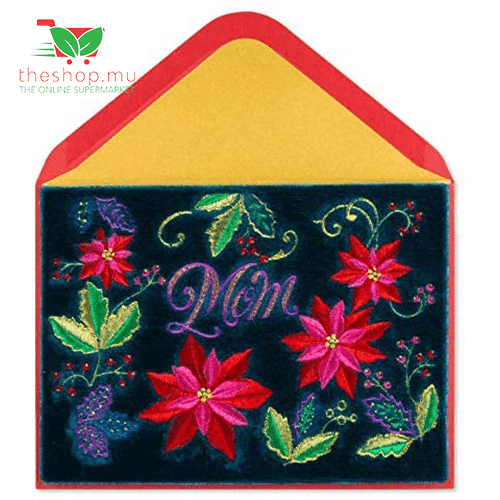 Unknown - Generic Product Flowers & Gifts Papyrus Embroidered Mom Flocked Christmas Card (For Mom)