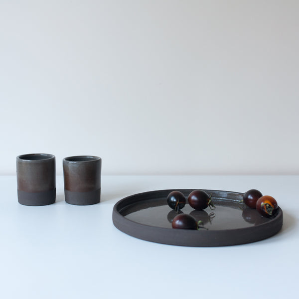 Black Strata Plate, Plate - DOR & TAN | Contemporary Handmade Tableware