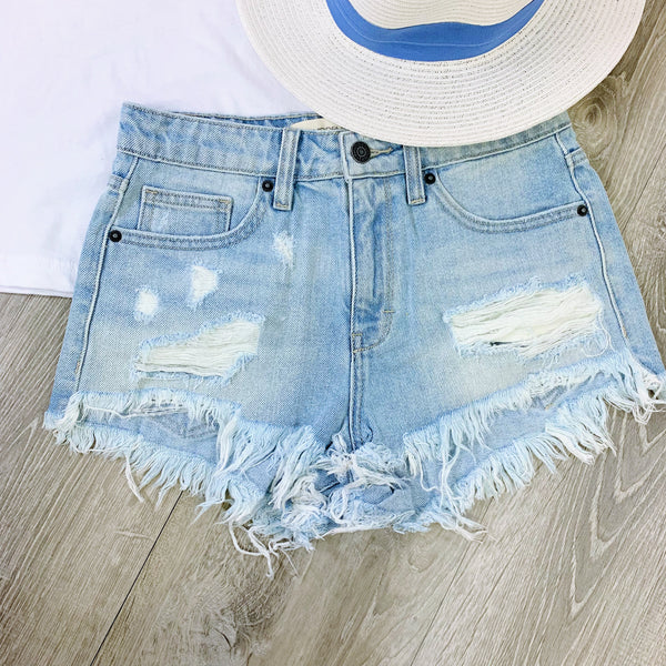 light distressed jean shorts