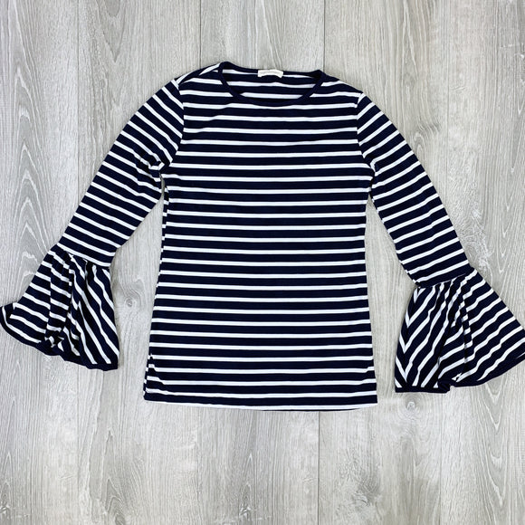 striped bell sleeve top