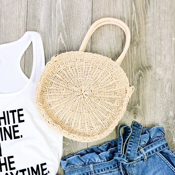 clare straw bag