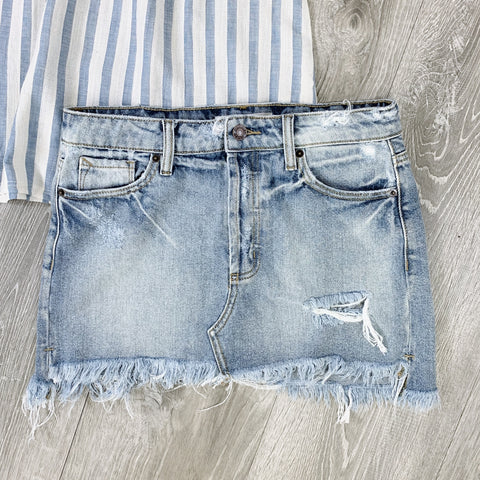 denim frayed jean skirt