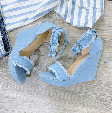 frayed denim wedges