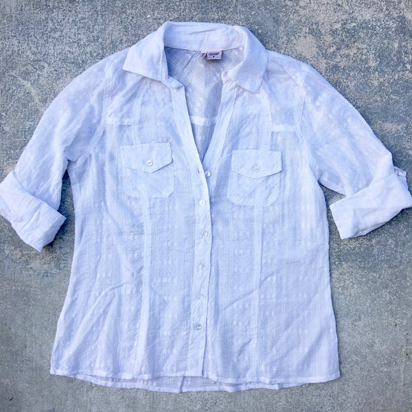 white eyelet button down
