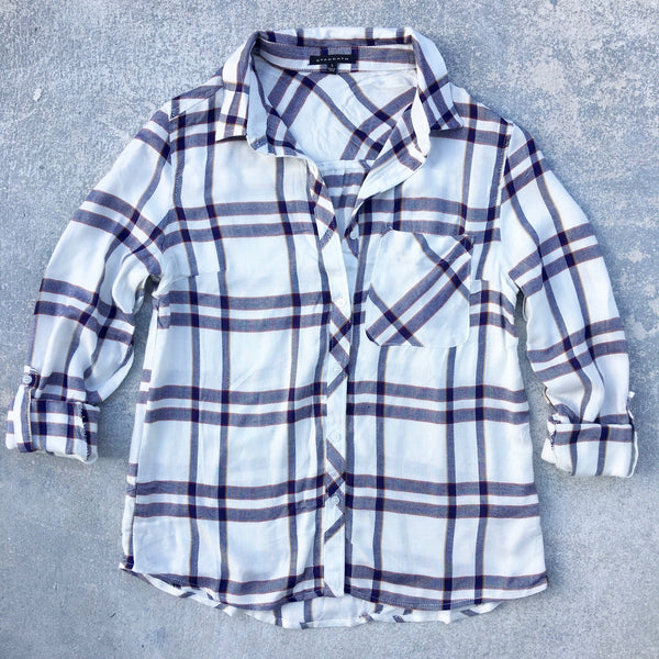 north plaid button down