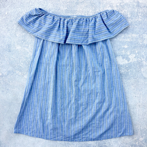 chambray stripe cold shoulder dress