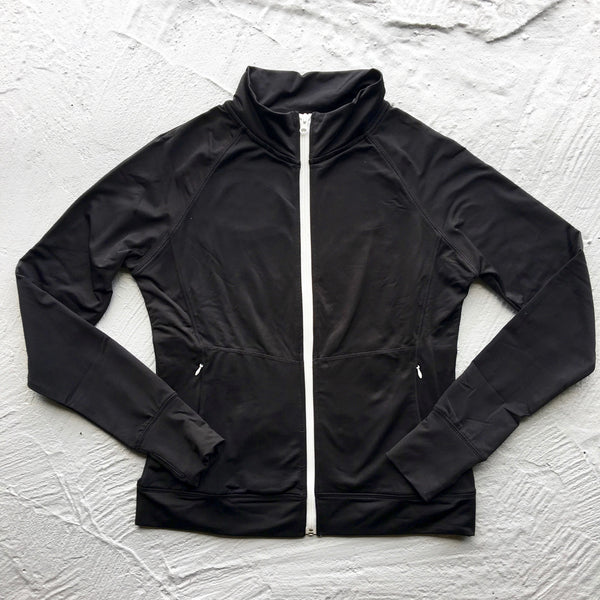 black zip up track jacket