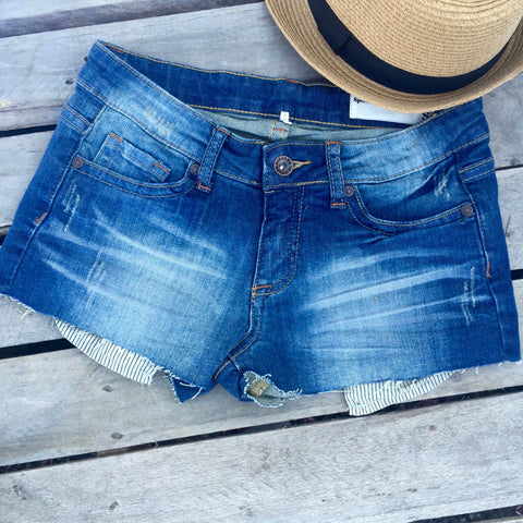 selena striped pocket jean shorts